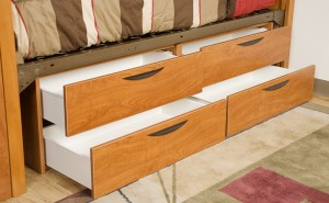 Greenfield Series chests feature metal drawer box with high pressure laminate face.