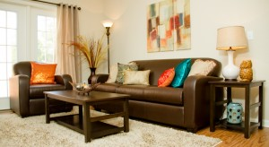 Meridian Series tables with Jennings Upholstery