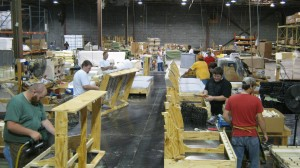 A view of the frame area from the Frame/Upholstery line.