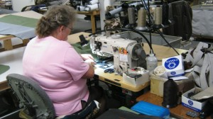 Katherine sews a Jennings loveseat back cover